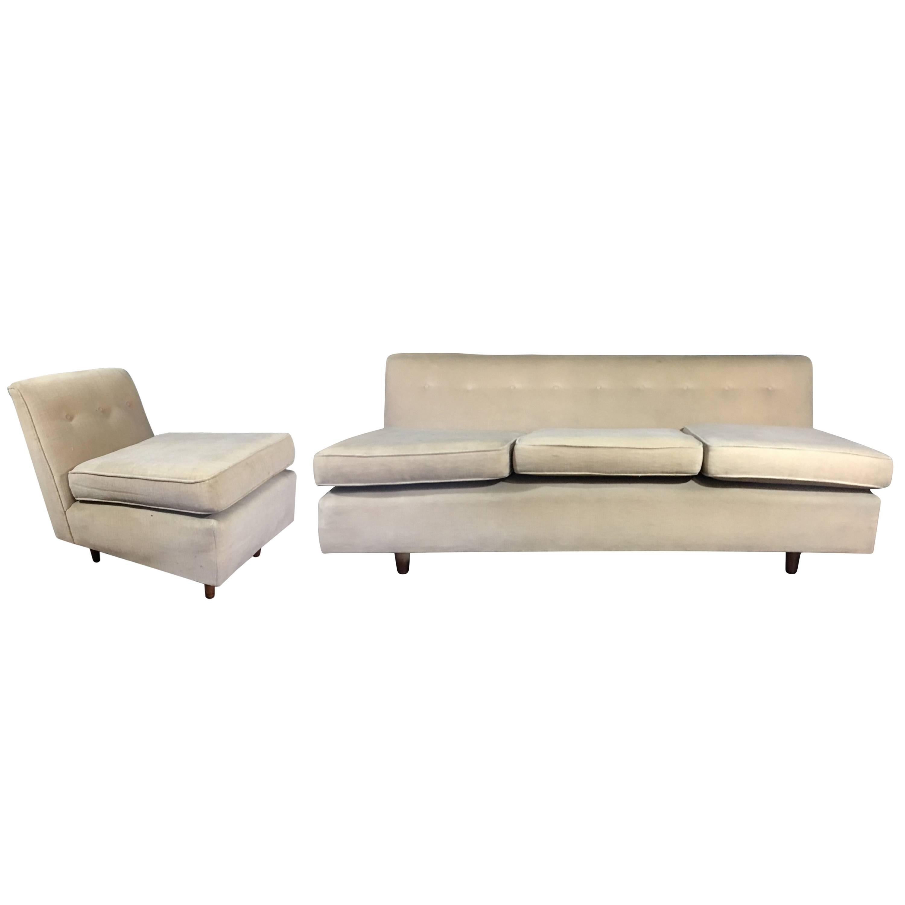vintage midcentury armless sofa and partner chair