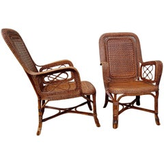Perret & Vibert, Pair of Large Rattan Armchairs, France, End of 19th Century