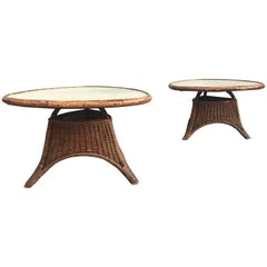Charming Pair of Wicker Coffee Tables