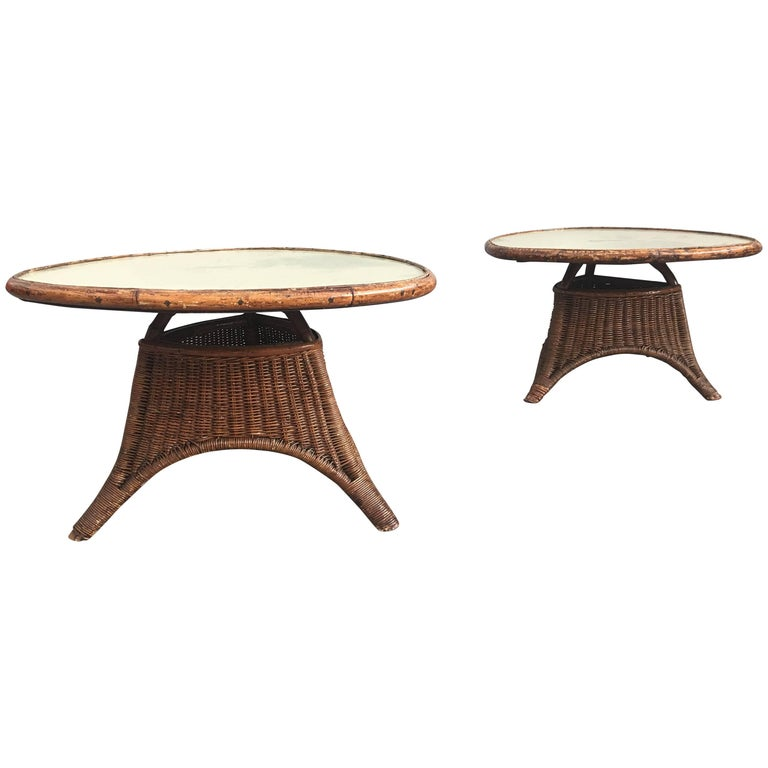 Charming Pair of Wicker Coffee Tables For Sale