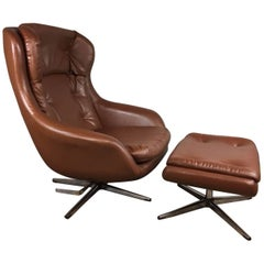 Brown Leather Lounge Chair and Ottoman by Selig