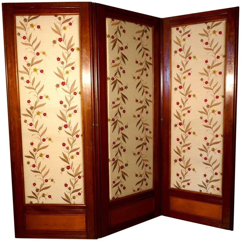 Victorian Three-Fold Mahogany Dressing Screen with Upholstered Panels