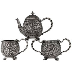 Antique 19th Century Indian Cutch Solid Silver Three-Piece Tea Set, circa 1890