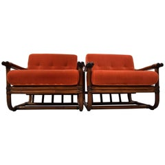 Mid-century modern Italian Made Orange Bamboo Lounge Set