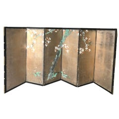 Japanese Small Antique Gold Sakura Tree Hand-Painted Screen, 19th Century
