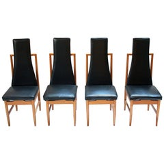 Set of Four Danish Modern Teak and Black Vinyl Tall-Back Dining Chairs