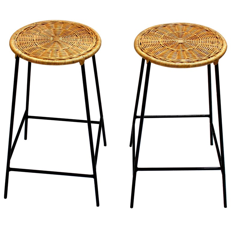 Pair Of Wicker And Metal Bar Stools In The Style Of Arthur