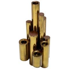 1950s Giò Ponti Tubular Brass Candleholder