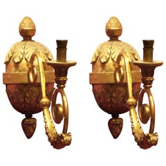 Pair of Italian Baroque Hand-Carved Giltwood Sconces with Gilt Bronze Arm