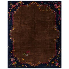 1920s Chinese Brown or Blue Art Deco Carpet