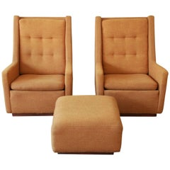 Pair of Lounge Chairs and Ottoman by Milo Baughman for James, Inc