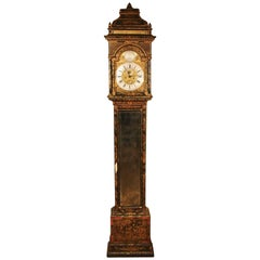 Fine George I Green Japanned Tall Case Clock with Mirrored Door by William King