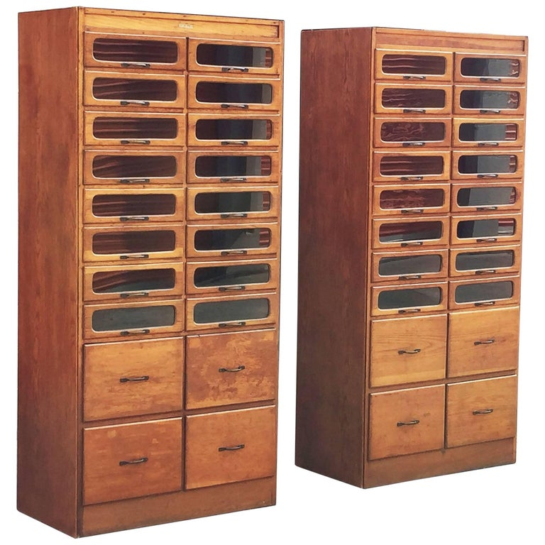 Pair of English Haberdashery Cabinets For Sale