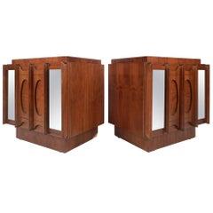 Unique Mid-Century Modern Broyhill Style Walnut Nightstands
