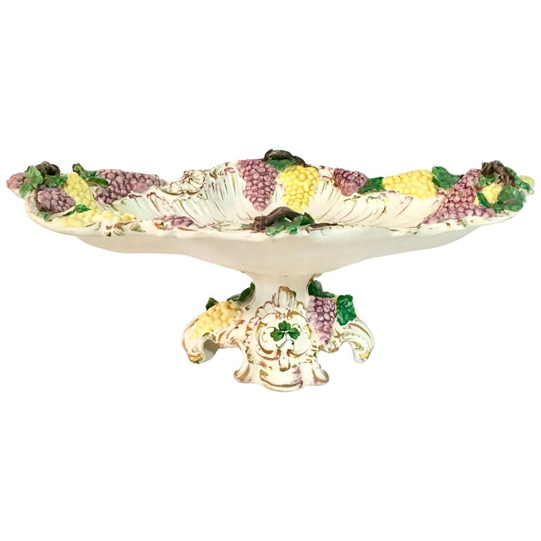 """Vintage Italian """"Capodimonte"""" Hand-Painted Footed Center Bowl For Sale"""