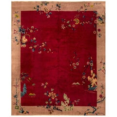 1920s Chinese Red/Tan Art Deco Carpet