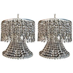 Beautiful and Rare Pair of 1960 Crystal Chandeliers