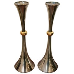 Pair of Silver Plated Candleholders by Jens Quistgaard for Dansk