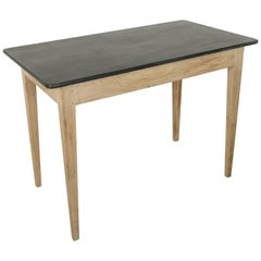 36-in. High French Oak Pastry Table or Kitchen Island with Antique Slate Top