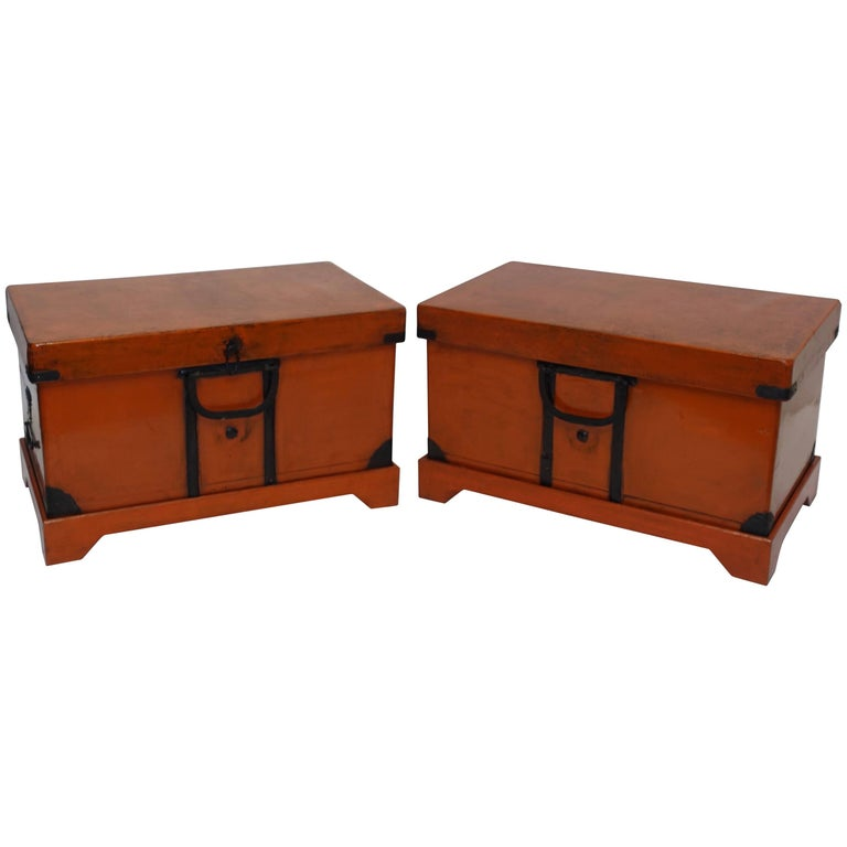 Pair of Lacquered Trunks or Tables on Custom Stands, Japanese 19th Century For Sale