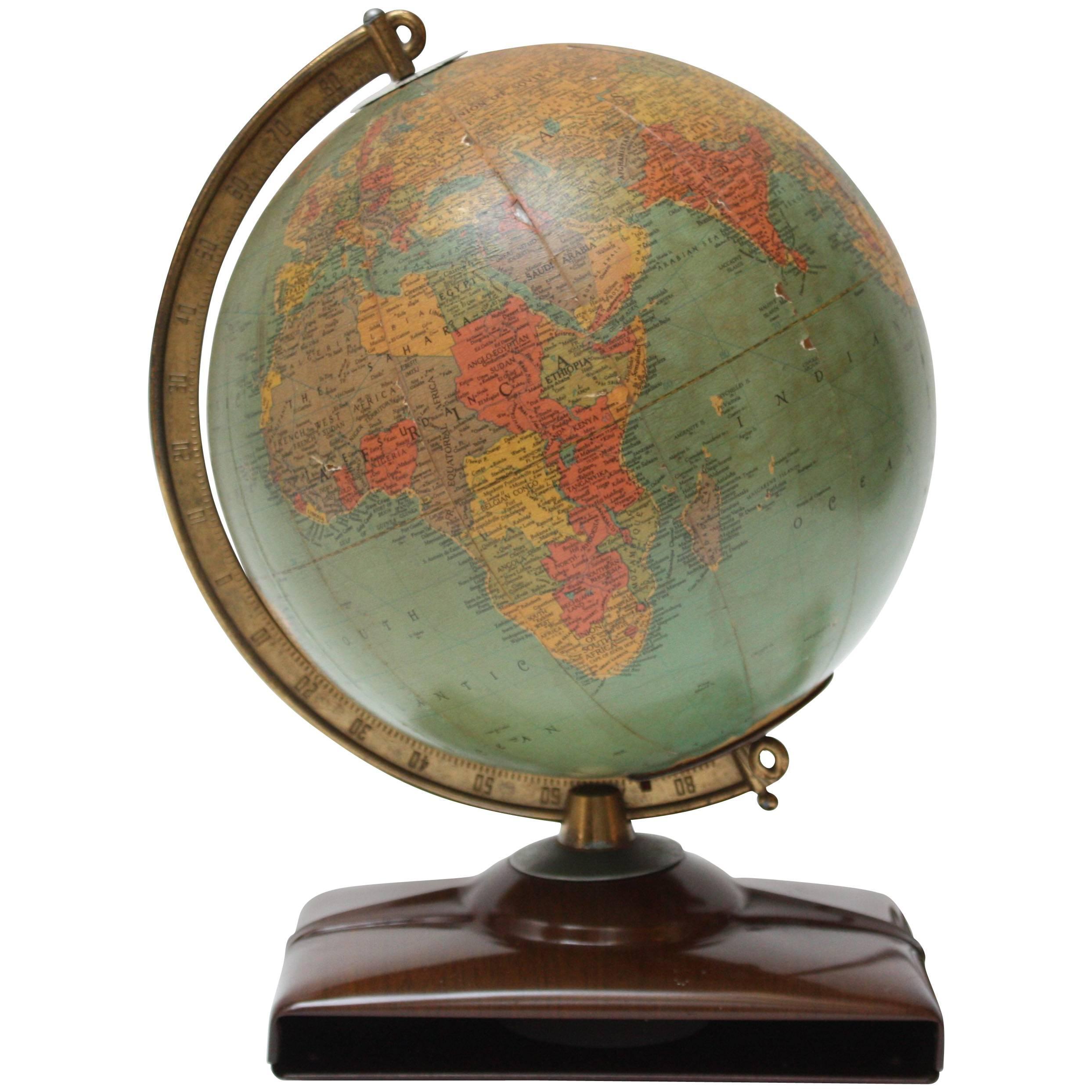 1950s Replogle Glass Illuminated Precision Globe