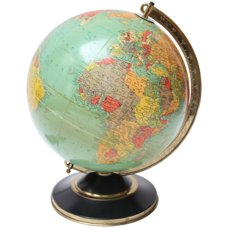 1960s Replogle Glass Illuminated Library Globe