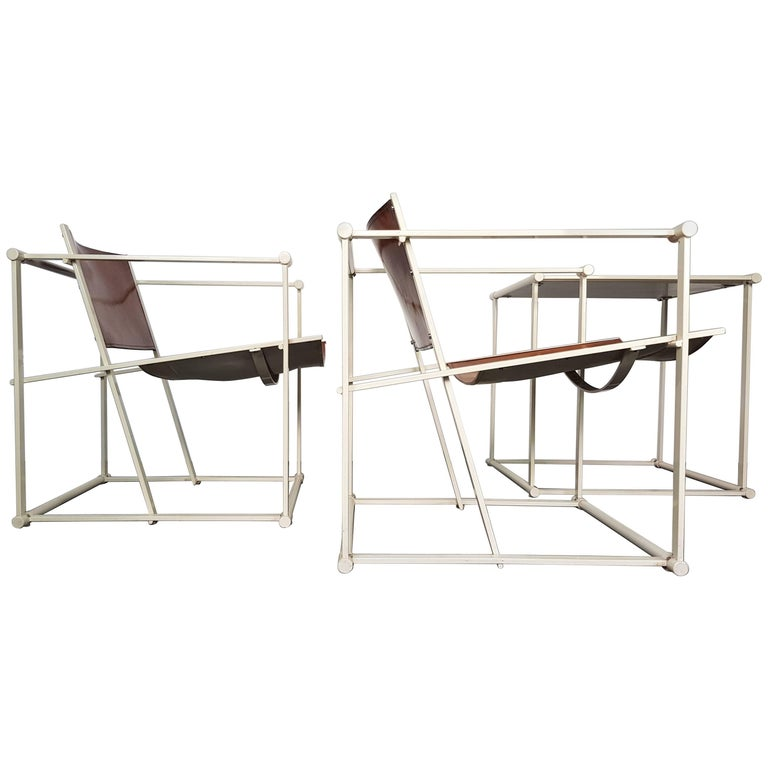 Pair of FM62 Chairs and Side Table by Radboud Van Beekum for Pastoe