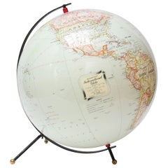 C.S. Hammond & Co. 1950s Inflatable Tabletop Globe on Metal Stand