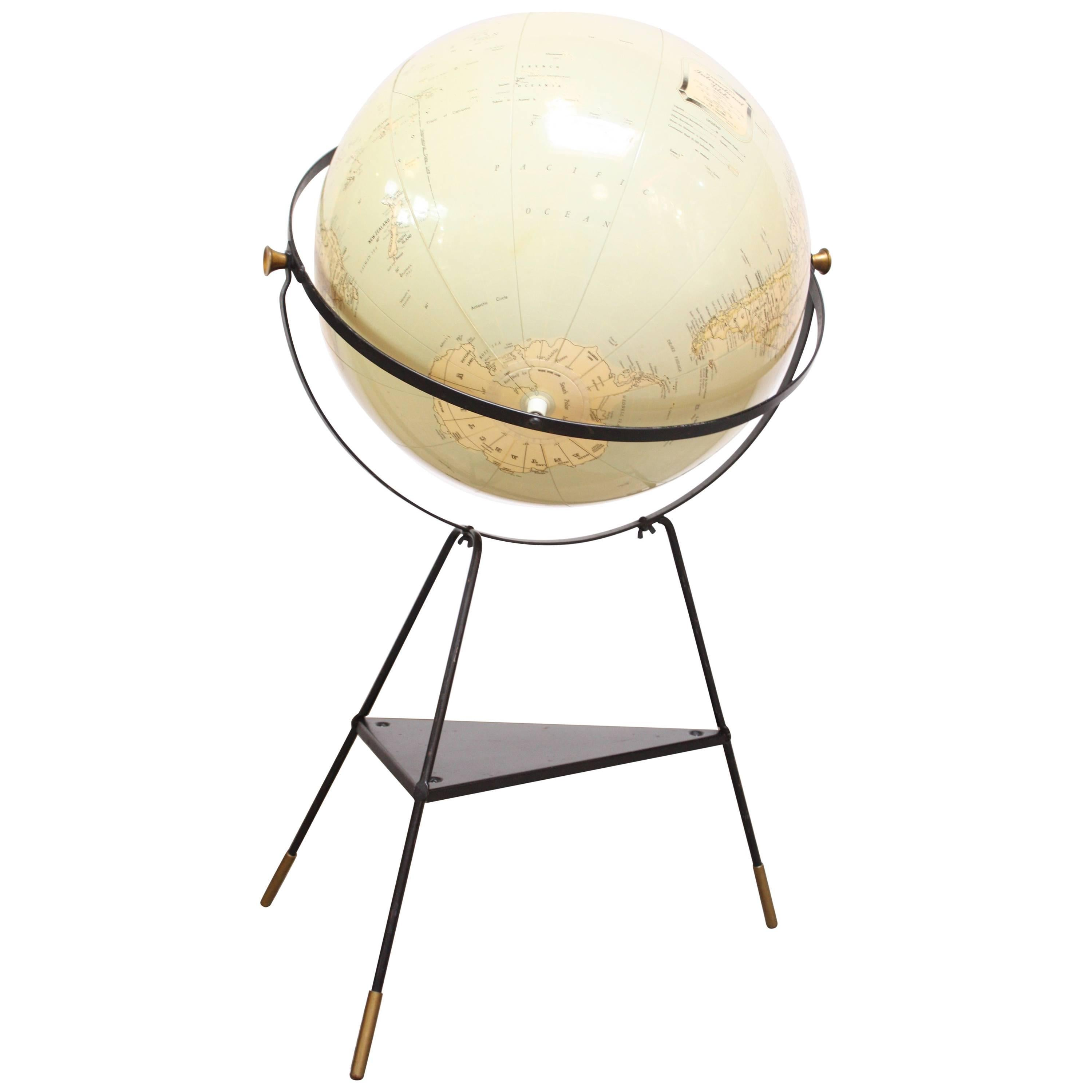 C.S. Hammond & Co. 1950s Inflatable Globe on Tripod Stand