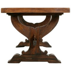 Early 20th Century French Oak Monastery Table or Dining Table with Trestle Base