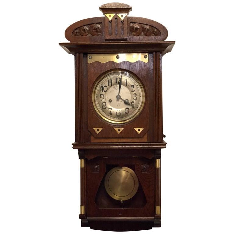 Art Nouveau Wall Clock German, 1900-1910