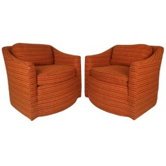 Pair of Mid-Century Modern Upholstered Lounge Chairs by Century Furniture
