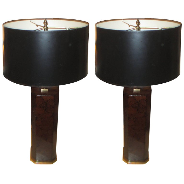 Oversized Pair of Coconut Shell Lamps on Bronze Bases
