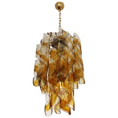 Italian Murano Amber Twisted Glass Chandelier by Mazzega