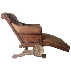 Rare Brown Antique Lounge Chair 'Le Surrepos Du Dr. Pascaud' Paris, circa 1924