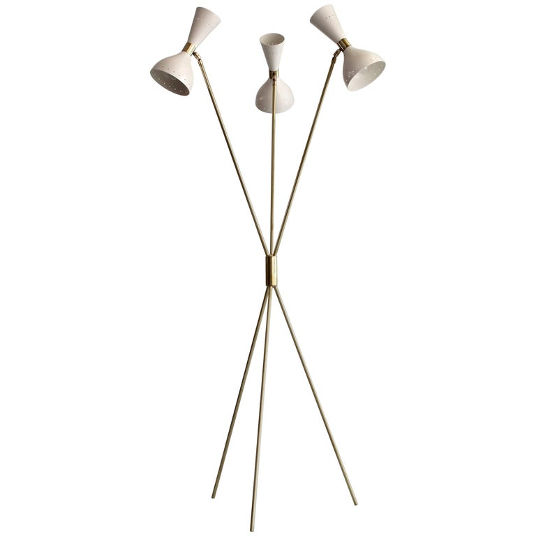 Three-Light Tripod Stilnovo Style Floor Lamp