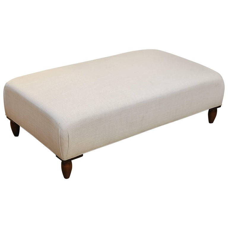 Large French Ottoman, Newly Upholstered