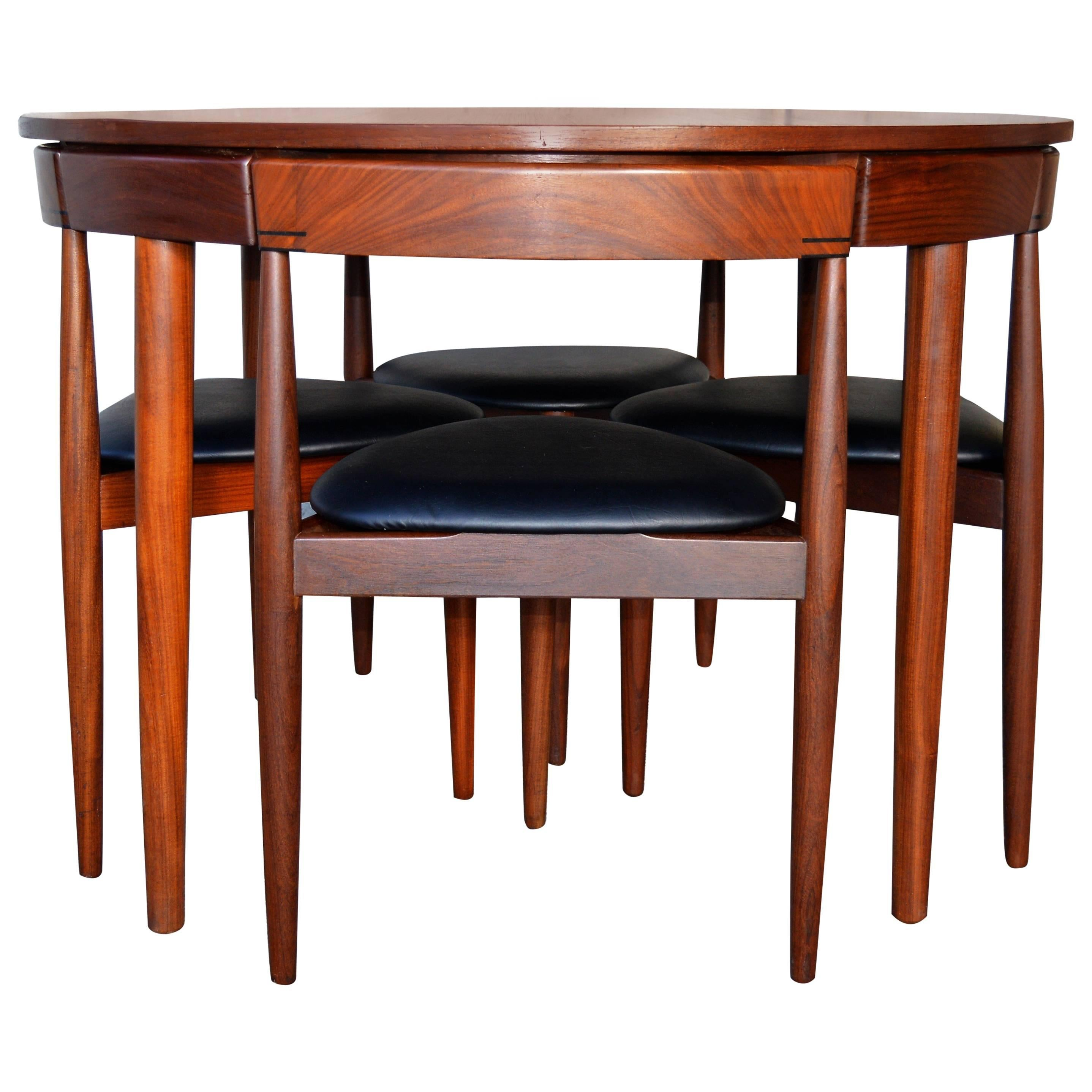 High Quality Compact Hans Olsen Teak Dining Set With Four Dining Chairs For Frem Rojle 1