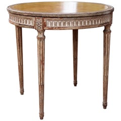 Italian Neoclassical Table with Leather Top