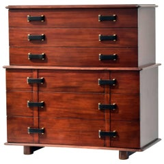 Paul Frankl, Station Wagon Dresser, Mahogany, Black Wooden Grips, 1945