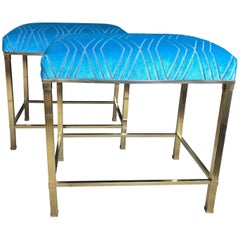 Pair of Modern Style French Benches with Upholstered Tops