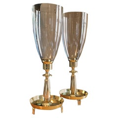 Pair of Tommi Parzinger Brass Hurricane Candleholders by Dorlyn Silversmiths
