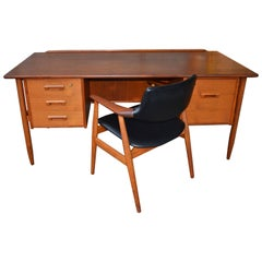 Teak Goran Strand/Lelangs Desk with Back Shelf & Bar, Erik Kirkegaard Desk Chair