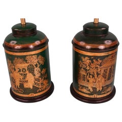 Pair of Green and Gold Chinese Export Tea Canister Lamps