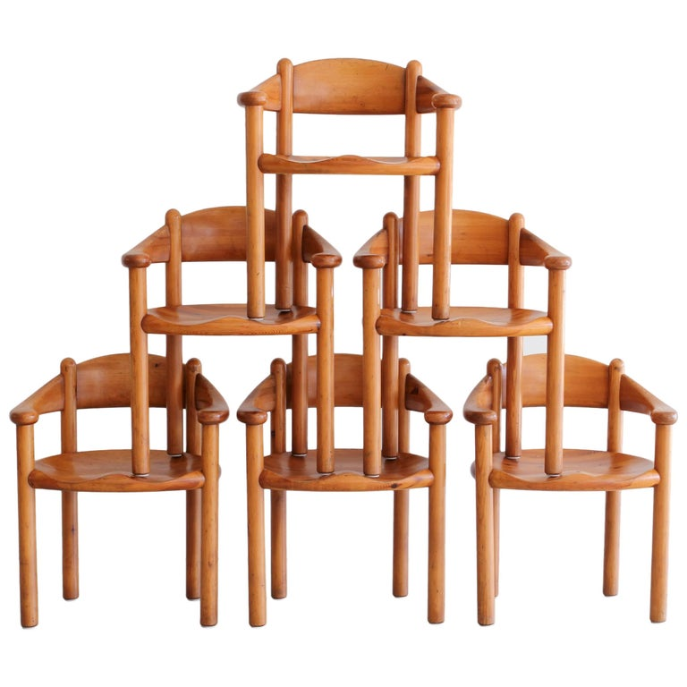 Rare Set of Six Dining Chairs by Rainer Daumiller For Sale