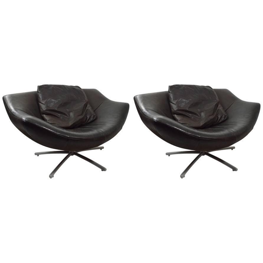 Pair Of Leather Swivel Chairs By Gerard Van Den Berg