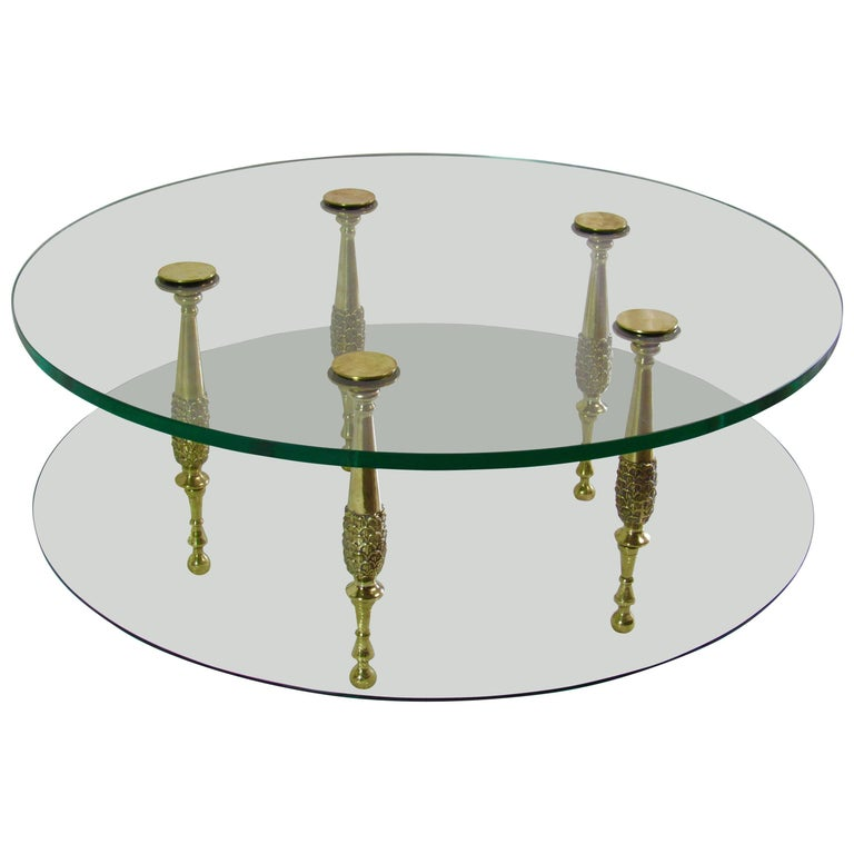 Neoclassical Italian 1950s Circular Polished Bronze and Glass Cocktail Table