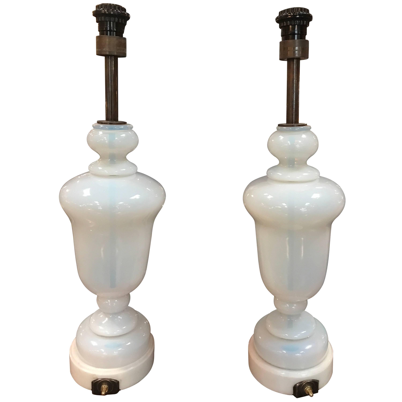Seguso Murano Glass Lamps, Pair, 1950s