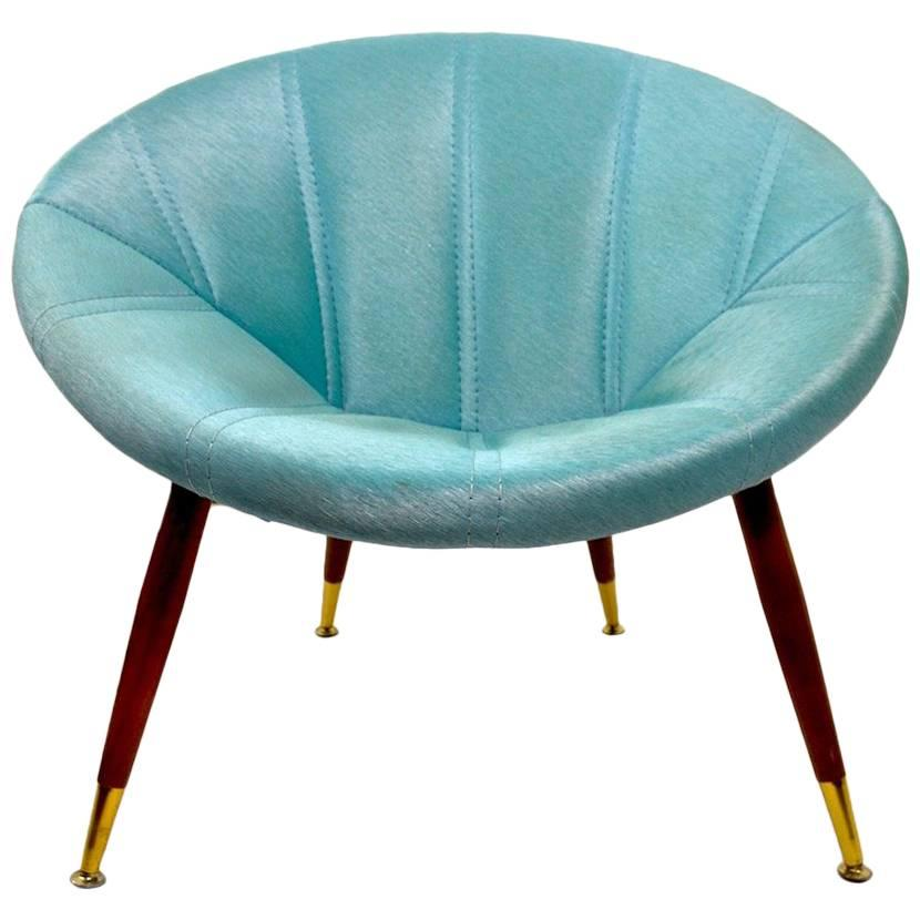 Exceptional Chic Vinyl Clamshell Chair For Sale