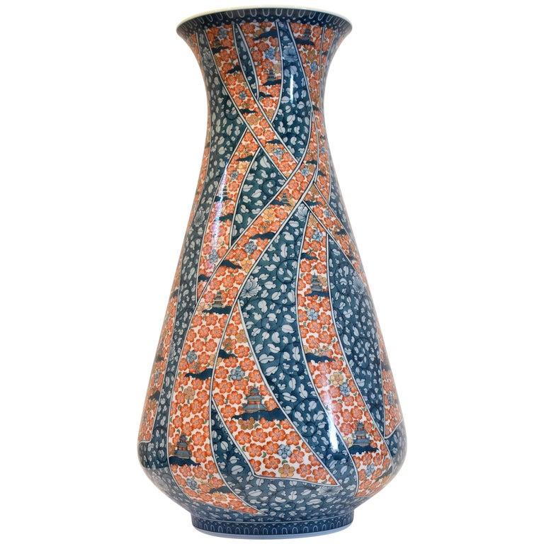 Massive Contemporary Imari Porcelain Vase by Japanese Master Artist